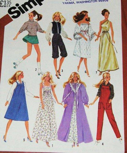 Fashion Doll Wardrobe Pattern - Simplicity 5637 Sewing Pattern, Wardrobe for 11 1/2