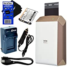 Fujifilm instax SHARE Smartphone Printer SP-2, Gold (International Version) + Rechargeable Battery + AC/DC Charger + HeroFiber Ultra Gentle Cleaning Cloth