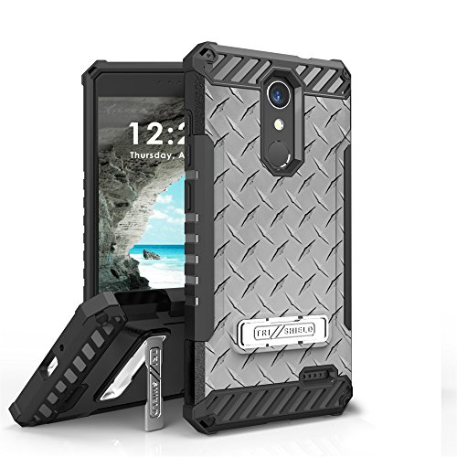 for Grand X4, for Blade Spark Case, Trishield Durable Rugged Armor Phone Cover with Detachable Lanyard Loop and Built in Kickstand Card Slot - Printed White Diamond Plate Steel