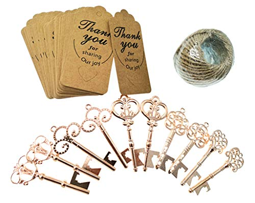 Kinteshun Skeleton Key Bottle Opener with Escort Tag and Jute Rope for Wedding Party Favor(50sets,Rose Gold Tone)