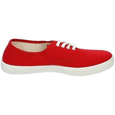JAVER 60 Bambas Lonas Rojas Mujer Zapatillas: Amazon.es: Zapatos y complementos