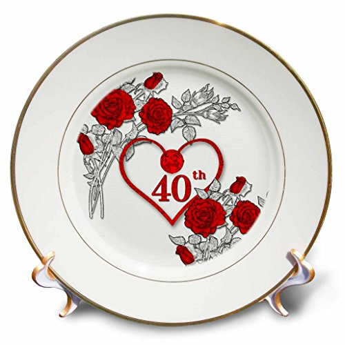 Ruby Rose Wedding Anniversary (3dRose Doreen Erhardt Wedding Collection - Red Heart and Roses 40th Ruby Anniversary for Wedding or Business - 8 inch Porcelain Plate (cp_264586_1))