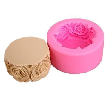 Molde de jabón redondo con forma de rosa floral, bandeja de ...
