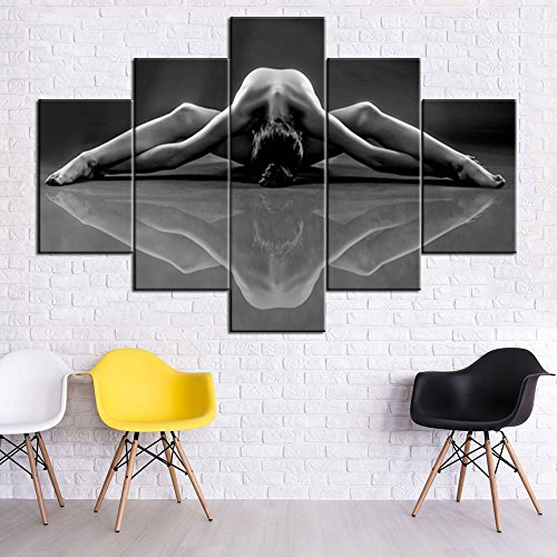 House Decorations Living Room Sexy Nude Woman Painting for Men/Women 5 Piece Canvas Wall Art Black and White Naked Girl Pictures,Modern Artwork Framed Ready to Hang Posters and ()