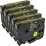 5PK Great Quality Compatible For Brother P-Touch Laminated Tze Tz Label Tape Cartridge 12mmx8m (TZe-334 Gold on Black)