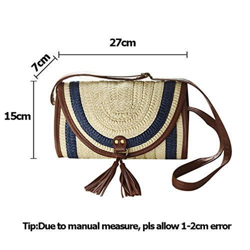 Straw Women Bag Knitted Shoulder Female Casual Amuele Beach Handbag Blue Bag Lady Tassel dXT6aFW