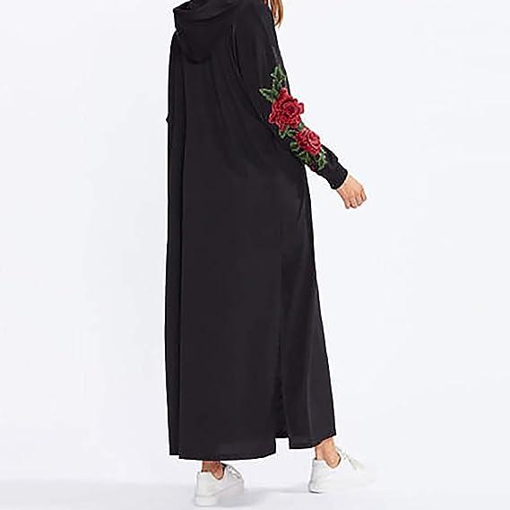 ❤ Modaworld Vestidos Largos de Mujer Sudadera con Capucha Floral del Bordado de Manga Larga Casual de Mujeres Vestidos de Fiesta de Cóctel Camisas niña ...