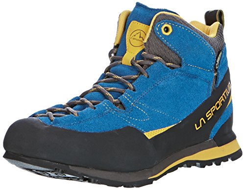 La Sportiva Boulder X Mid GTX - Calzado - gris/azul 2017 Blue/Yellow