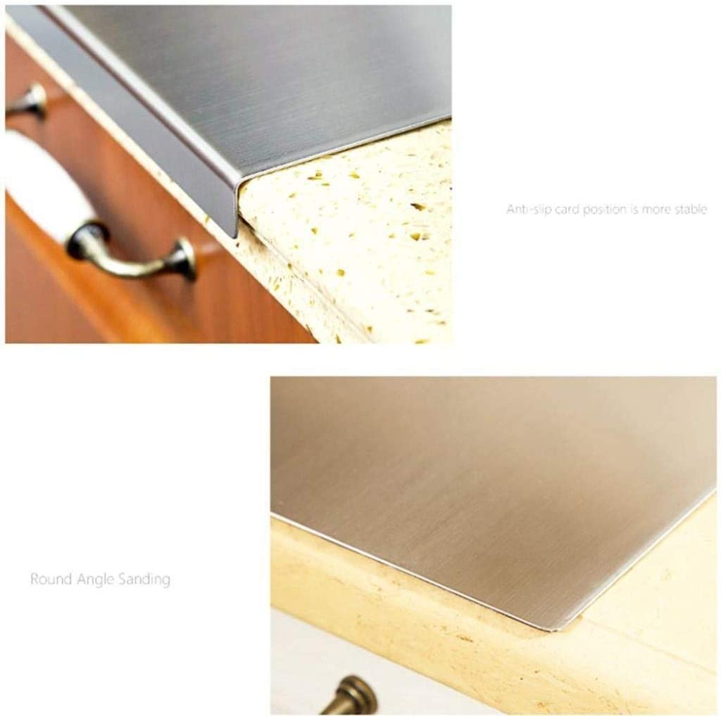 XURURR 304 in Acciaio Inox Frutta Verdure Carne Choppin spianatoia Tagliere Cucina Domestici Piano di Lavoro Protector Color : Silver, Size : D400XL500X1.5MM
