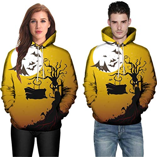 Hot Sale,WUAI Halloween Costumes for Adults Men Women Party Dress Up 3D Print Couples Slim Fit Hoodies Sweatshirt(Yellow,US Size 2XL = Tag -