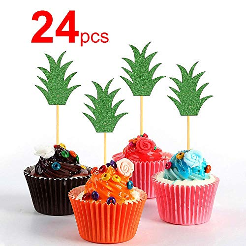 Green Pineapple Cupcake Topper, 24 Pcs Donuts Toppers Glitter Pineapple Leaf Dessert Pick for Hawaii Luau Tropical Party Bridal Shower Baby Shower Wedding Birthday Tropical Summer Theme Party Decorati