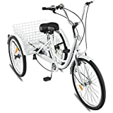 TiKingAn 24-inch Tricycle 1/7 Speed 3-Wheel Pedal Bicycle for Shopping W/Installation Tools (Ship from US) Black