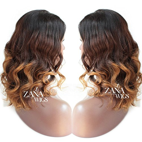 ZANA 3 Tone Human Hair Short Wigs For Black Women Loose Wave Lace Front Wig Celebrity Style