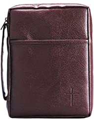 Burgundy Embossed Cross with Front Pocket Large Leather Look Bible Cover with Handle