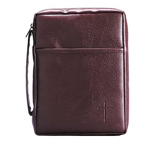 Burgundy Embossed Cross with Front Pocket Leather Look Bible Cover with Handle, Large