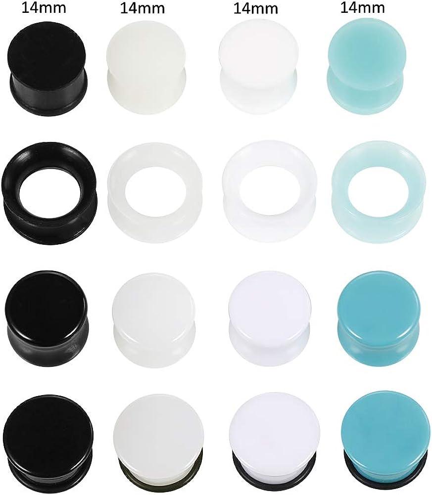 Xpircn Silicone Ear Plugs Tunnels Double Flared Ear Gauges Plugs Expander Gauges Piercing Jewelry 8PCS-32PCS
