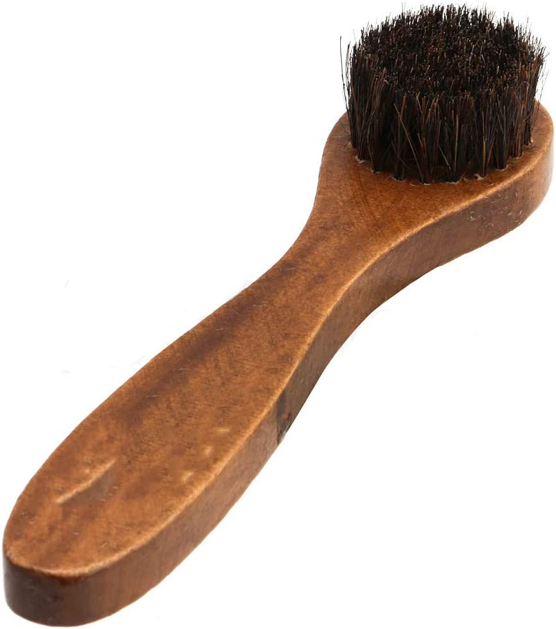 Huilier Long Wooden Handle Bristle Horse Hair Shoe Boot Brushes Polish Applicator Dauber