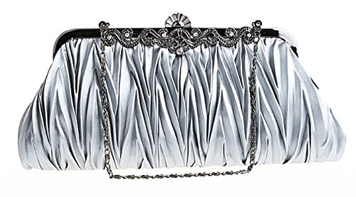 (CLT-02-AA) Zakka Republic Vintage Satin Pleated Evening Cocktail Wedding Handbag Clutch w/Shoulder Chain (Silver) by Zakka Republic