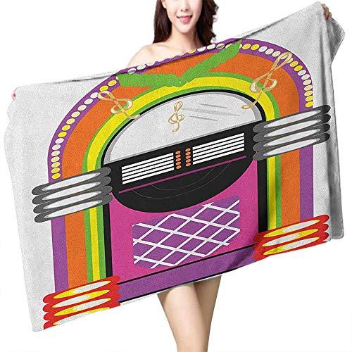 homecoco Popular Bath Towels Jukebox Cartoon Vivid Ethnic Design Vintage Music Notes Radio Box Artwork W28 xL55 Suitable for bathrooms, Beaches, Parties
