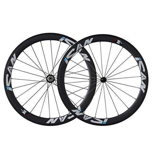 ICAN 50 mm-Carbone UD Pneu de course routière de roues Noir basalte 20/24H Brochette Sapim CX Ray-rayons ultra-léger: Amazon.es: Deportes y aire libre