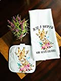 Kitchen Towel and Potholder Home Decor Gift Set Love Giraffes