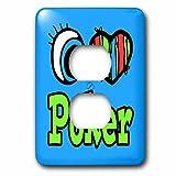 3dRose LLC lsp_106418_6 Bright Eye Heart I Love Poker 2 Plug Outlet Cover