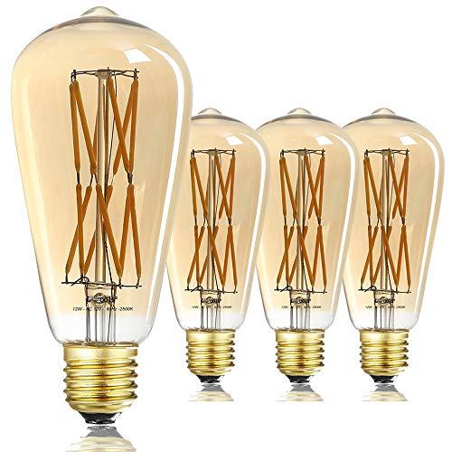 LEOOLS LED Edison Bulb Dimmable 12W 2500K Warm White,Amber Glass,1200LM,100W Equivalent E26 Medium Base,ST64 Vintage LED Bulbs, 360 Degree Beam Angle,Pack of 4