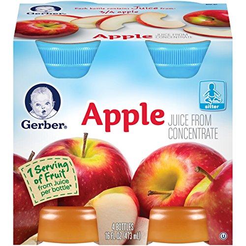 Gerber Apple Juice 4 oz per Bottle, 4-Count