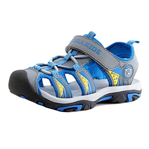 hibote Sport Outdoor Klettverschluss Sandalen Geschlossene Zehe Flache Strand Sommer Schuhe für Jungen Mädchen - 1-16 Jahre Grau Blau