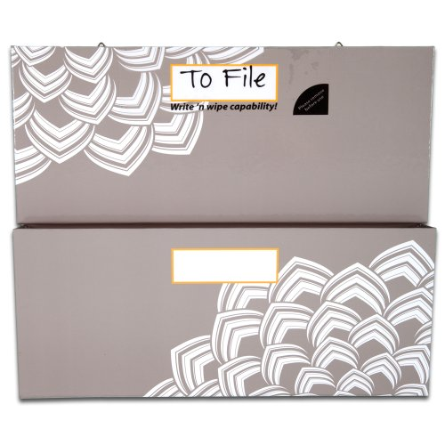 Mead Organizher Hanging Magnetic Storage Pockets, Large, 12 x 10 Inches, Gray with Floral Accents (98050)