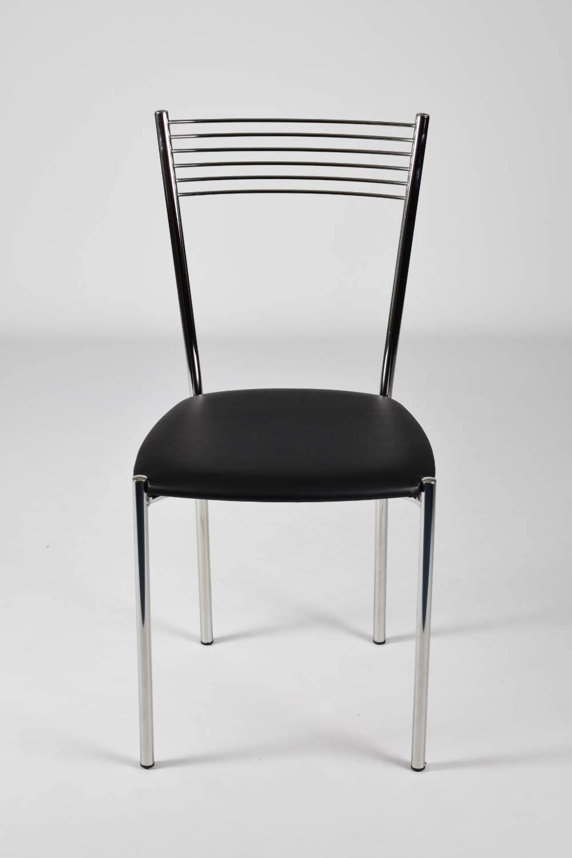 tmcs Tommychairs Set 4 sedie Moderne Elegance per Cucina e Sala da Pranzo, Struttura in Acciaio Cromato e Seduta Imbottita e Rivestita in Pelle