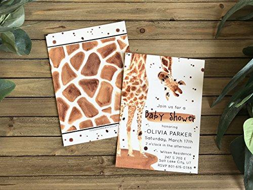 Baby Shower Invite - Set of 20 - Giraffe Party Invite - Safari Baby Shower Invitation - Giraffe Party -
