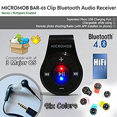 MICROMOB BAR-03 Bluetooth 4.0 Clip Stereo Bluetooth Audio Receiver/Adapter with Mic for Earphone/Headset/Speaker. Hands-free Calls/Music. [Ideal for Smartphone/iPhone 7,8 with no Audio Jack]