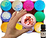 vegan 12 Extra Large 5 oz Vegan Bath Bombs, w/Free Lip Balm, Individually Wrapped Gift Set Ideas For Women, Mom, Girls, Teens, Her, Organic Coconut Oil, Cruelty Free, PABA Free, Handmade in the USA
