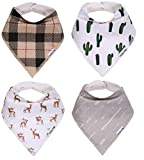 American Kiddo Baby Bandana Drool Bibs for Boys and Girls 100% Waterproof Organic Cotton With Snaps and Back Pocket (4-Pack) for Drooling and Teething Babies and Toddlers - Buckaroo Set