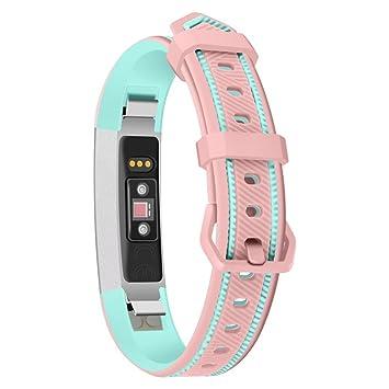 Fitbit Alta /Alta HR Correa, Malloom Suave doble color silicona reemplazo banda Sport correa para Fitbit alta/alta HR (Rosa)