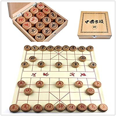 Elloapic Beechwood Xiangqi Chinese Chess Set with Wooden Box,large size,4CM diameter