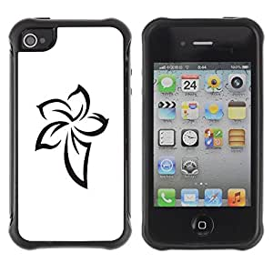 "Hypernova Defender Series TPU protection Cas Case Coque pour Apple iPhone 4 / iPhone 4S [Patrón Celtic tatuaje tinta blanca""]"