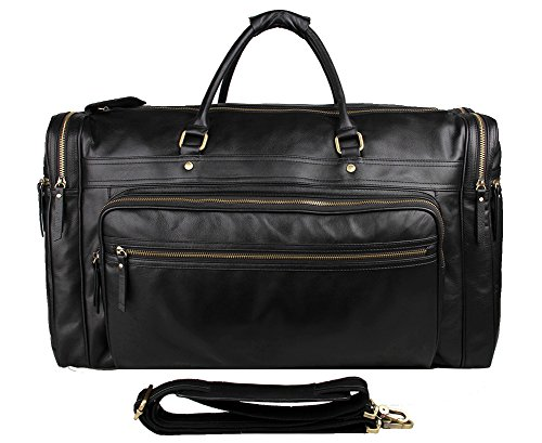 Genda 2Archer Genuine Leather Large Duffel Weekender Overnight Travel Tote Bag by Genda 2Archer