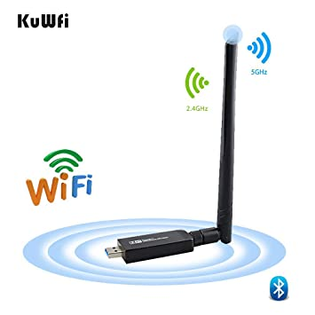Amazon.com: KuWFi Adaptador USB de banda dual Bluetooth 4.1 ...