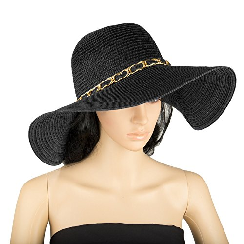 Aerusi Women's Straw Wide Brim Floppy Sun Hat Beach Garden Sun Hat w/ Chain Band (Black)