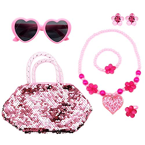 - Elesa Miracle Kids Little Girl Toy Playset Sequins Handbag + Heart Sunglasses + Necklace Bracelet and Clip on Earrings Value Set, Pink