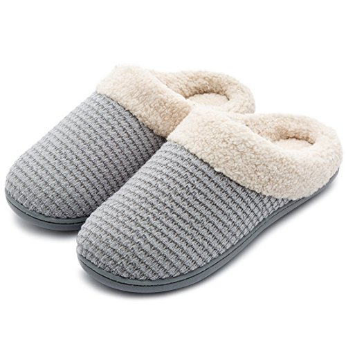 Women's Comfort Coral Fleece Memory Foam Slippers Plush Lining Slip-on Clog House Shoes for Indoor & Outdoor Use (Medium / 7-8 B(M) US, Gray Knit)