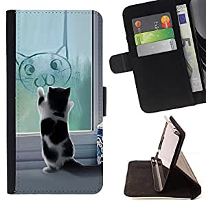 BullDog Case - FOR/HTC One M8 / - / Cute Funny Cat Kitten /- Monedero de cuero de la PU Llevar cubierta de la caja con el ID Credit Card Slots Flip funda de cuer