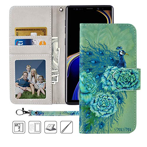Galaxy Note 9 Wallet Case, MagicSky Note 9 Case,Premium PU Leather Flip Folio Case Cover with Wrist Strap, Card Holder,Cash Pocket,Kickstand for Samsung Galaxy Note 9(Green Peacock)