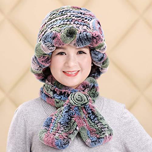 color Ladies Autumn Winter Wool Winter Scarf Mother Grandma Fur hat