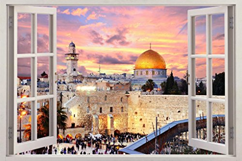 JERUSALEM The Holy City 3D Window View Decal Graphic WALL STICKER Art Mural H233, -