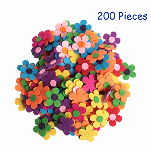 Happy Shop 200 Pieces Assorted Colors DIY Felt Flowers Fabric Flower -