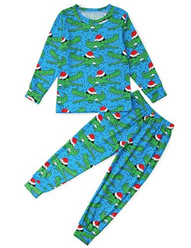 Funnycokid Big Boys Jammies Girls Crocodile Pajamas Set Long Sleeve Xmas Pjs Sleepwear Christmas wear