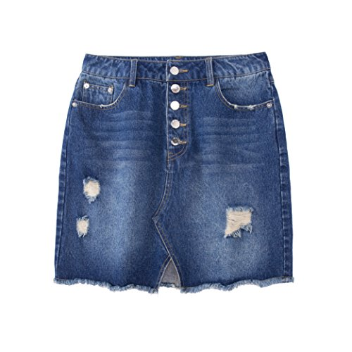 Tronjori Womens Distressed Ripped Denim Short Pencel Skirt, Frayed Hem(XL,Blue)